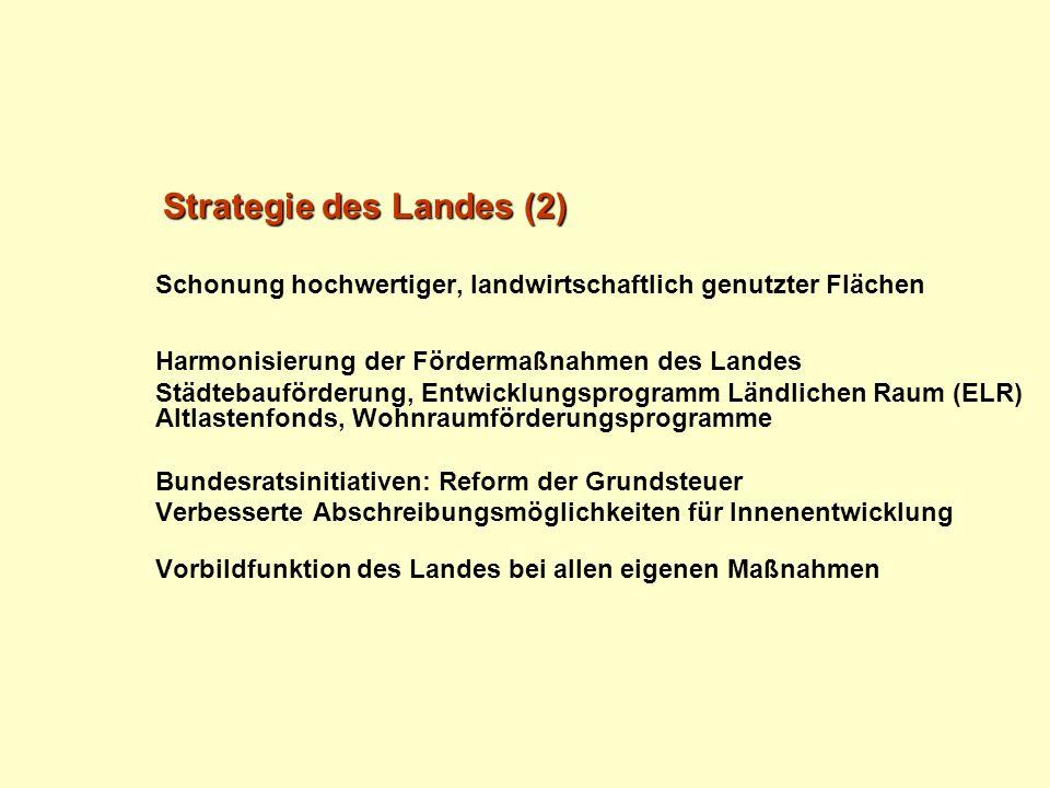 Strategie des Landes (2) Schonung hochwertiger, landwirtschaftlich genutzter Flächen Harmonisierung der Fördermaßnahmen des Landes Städtebauförderung,