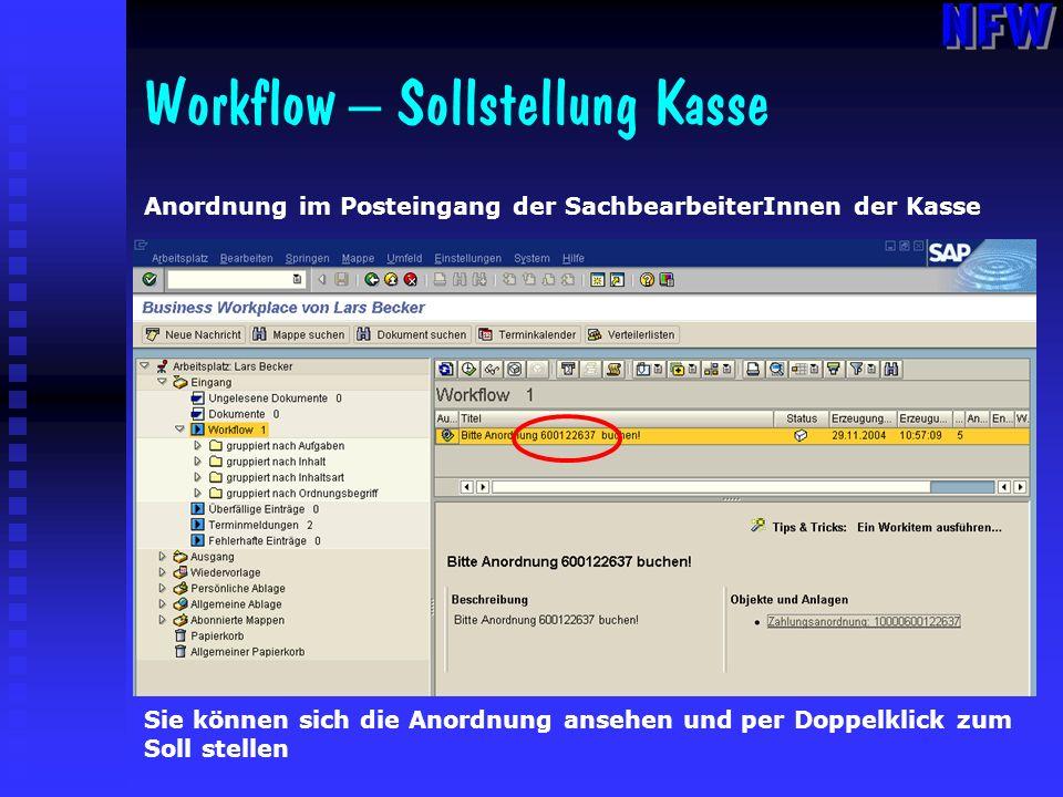 Workflow – Sollstellung Kasse Anordnung im Posteingang der SachbearbeiterInnen der Kasse Sie können sich die Anordnung ansehen und per Doppelklick zum