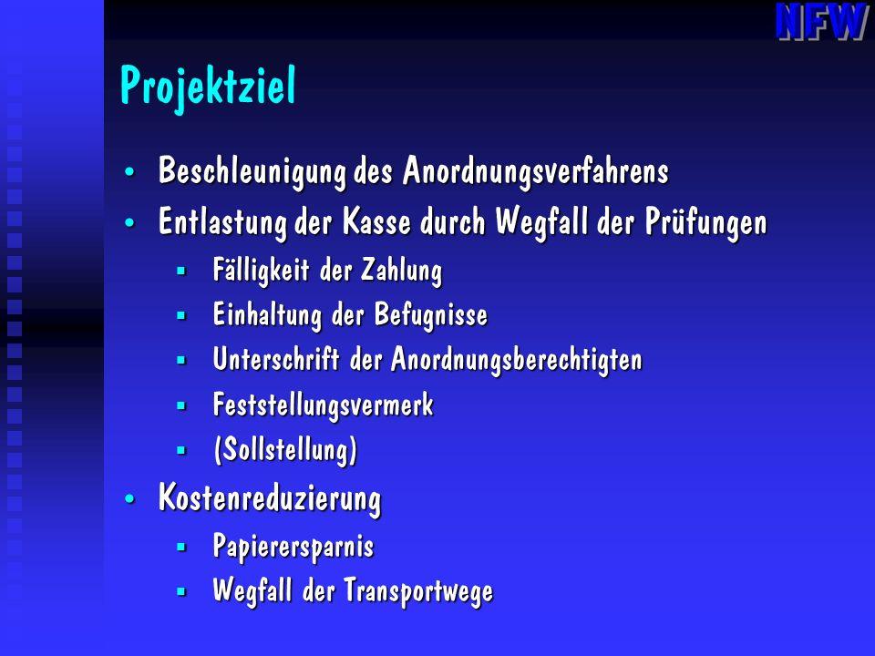 Projektziel Beschleunigung des Anordnungsverfahrens Beschleunigung des Anordnungsverfahrens Entlastung der Kasse durch Wegfall der Prüfungen Entlastun