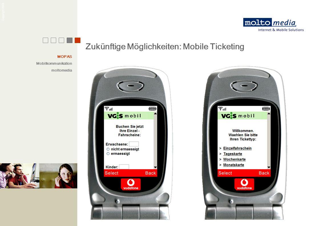 Copyright 2003 Zukünftige Möglichkeiten: Mobile Ticketing Mobile-Ticketing MOPAS Mobilkommunikation moltomedia