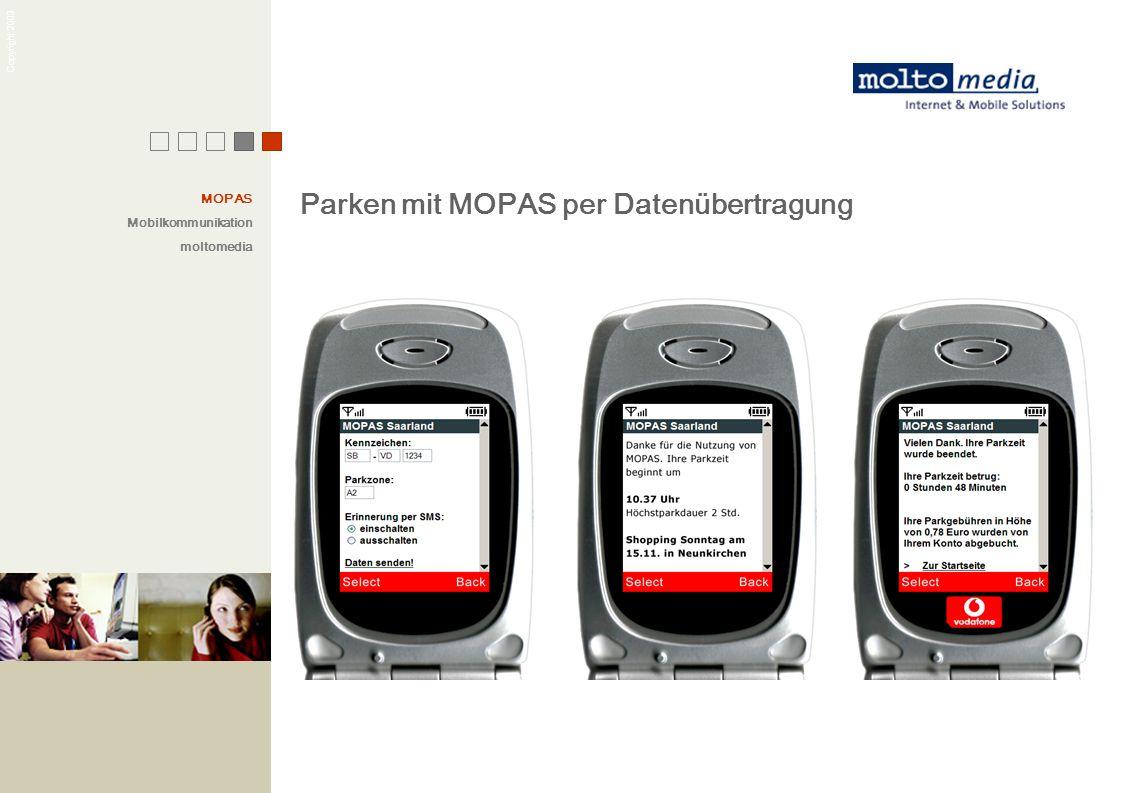 Copyright 2003 Parken mit MOPAS per Datenübertragung MOPAS Mobilkommunikation moltomedia