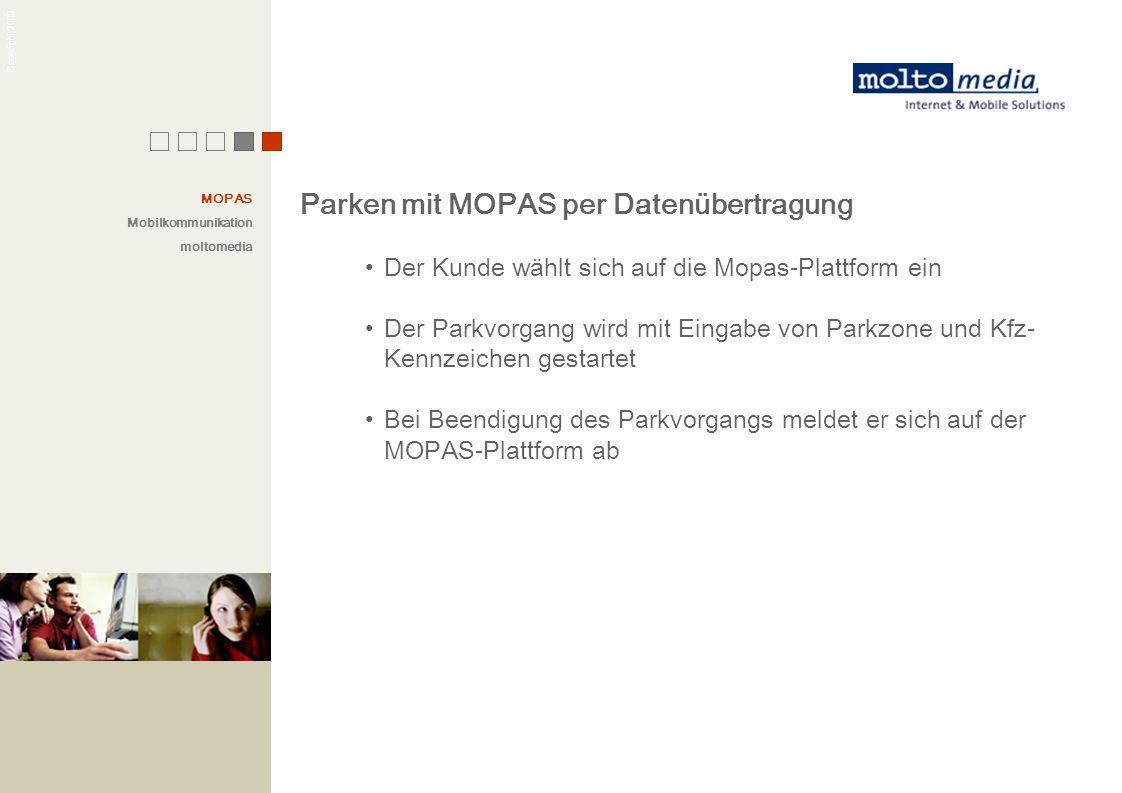 Copyright 2003 Parken mit MOPAS per Datenübertragung Der Kunde wählt sich auf die Mopas-Plattform ein Der Parkvorgang wird mit Eingabe von Parkzone un