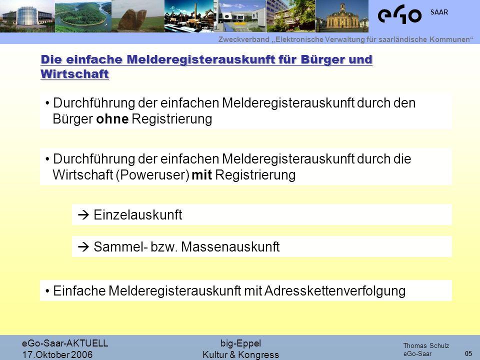 Zweckverband Elektronische Verwaltung für saarländische Kommunen SAAR Thomas Schulz eGo-Saar eGo-Saar-AKTUELL 17.Oktober 2006 big-Eppel Kultur & Kongr