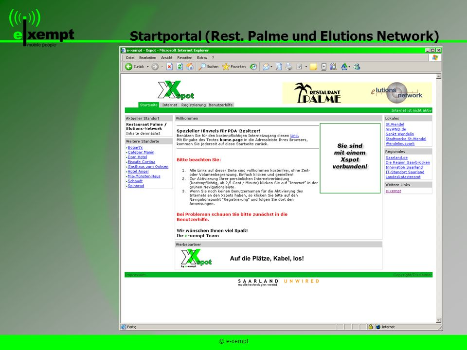 © e-xempt Startportal (Rest. Palme und Elutions Network)
