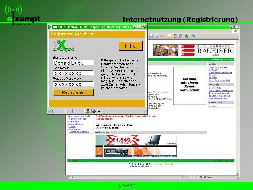 © e-xempt Internetnutzung (Registrierung) Donald Duck XXXXXXXX XXXXXXXX