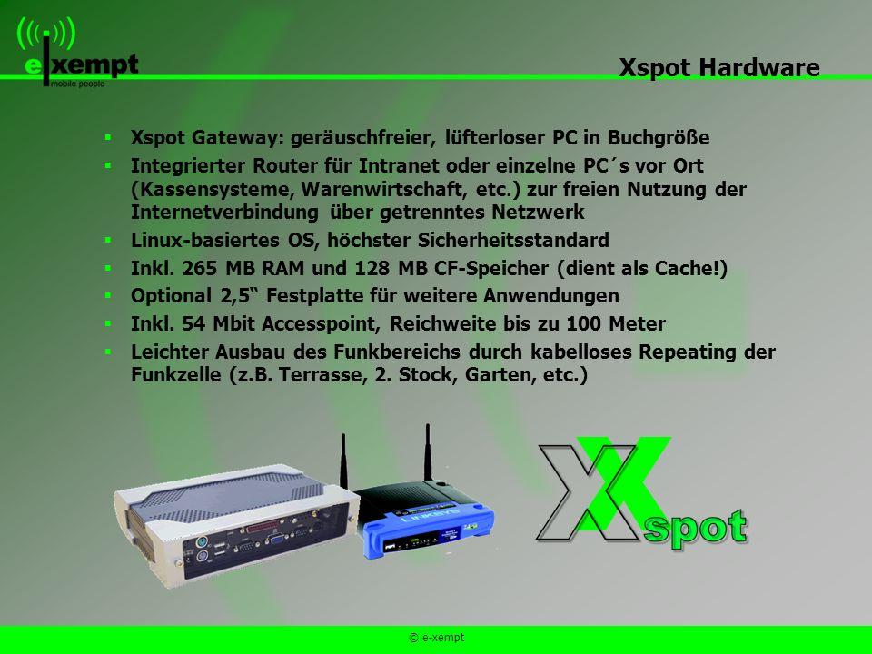 © e-xempt Xspot Gateway: geräuschfreier, lüfterloser PC in Buchgröße Integrierter Router für Intranet oder einzelne PC´s vor Ort (Kassensysteme, Warenwirtschaft, etc.) zur freien Nutzung der Internetverbindung über getrenntes Netzwerk Linux-basiertes OS, höchster Sicherheitsstandard Inkl.