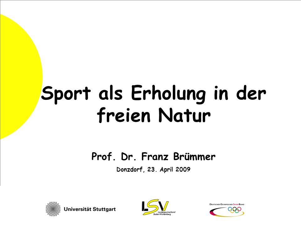 Sport als Erholung in der freien Natur Prof. Dr. Franz Brümmer Donzdorf, 23. April 2009