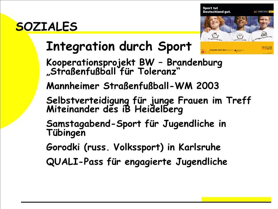 SOZIALES Integration durch Sport Kooperationsprojekt BW – Brandenburg Straßenfußball für Toleranz Mannheimer Straßenfußball-WM 2003 Selbstverteidigung für junge Frauen im Treff Miteinander des iB Heidelberg Samstagabend-Sport für Jugendliche in Tübingen Gorodki (russ.