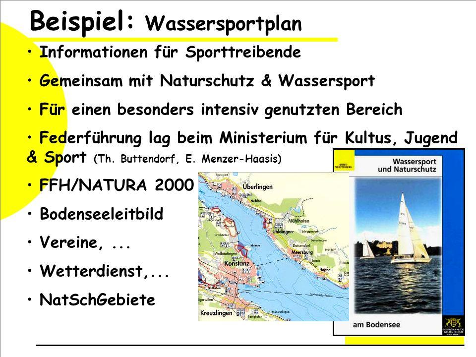 Informationen für Sporttreibende Gemeinsam mit Naturschutz & Wassersport Für einen besonders intensiv genutzten Bereich Federführung lag beim Ministerium für Kultus, Jugend & Sport (Th.