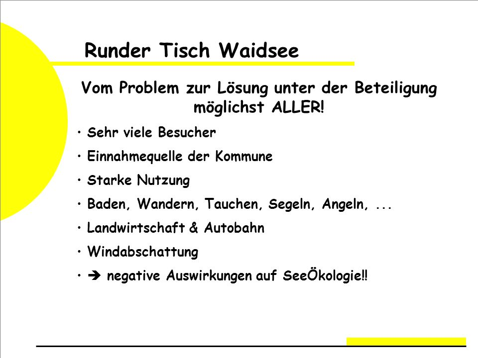 Runder Tisch Waidsee Vom Problem zur Lösung unter der Beteiligung möglichst ALLER.