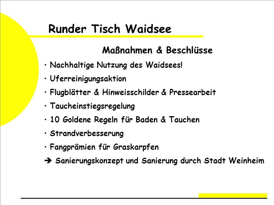 Runder Tisch Waidsee Maßnahmen & Beschlüsse Nachhaltige Nutzung des Waidsees.