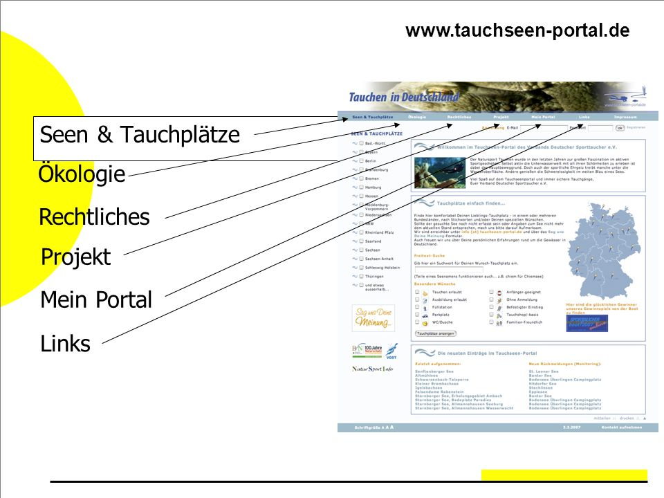 Seen & Tauchplätze Ökologie Rechtliches Projekt Mein Portal Links www.tauchseen-portal.de