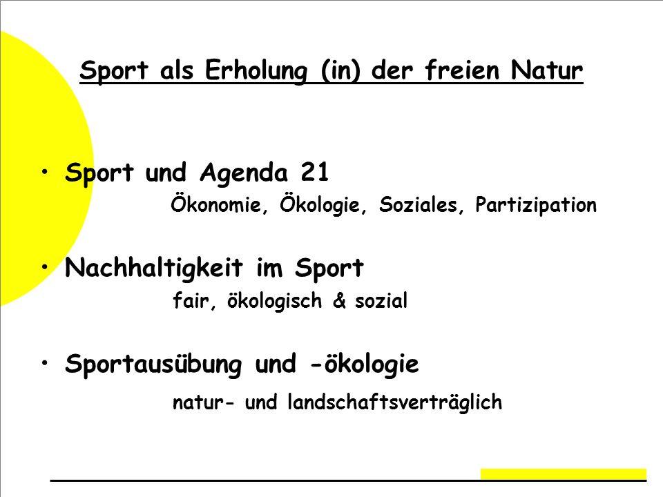 Sport als Erholung (in) der freien Natur Sport und Agenda 21 Ökonomie, Ökologie, Soziales, Partizipation Nachhaltigkeit im Sport fair, ökologisch & sozial Sportausübung und -ökologie natur- und landschaftsverträglich