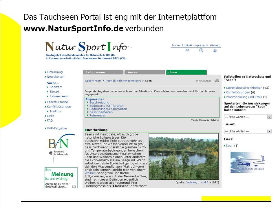 Das Tauchseen Portal ist eng mit der Internetplattfom www.NaturSportInfo.de verbunden