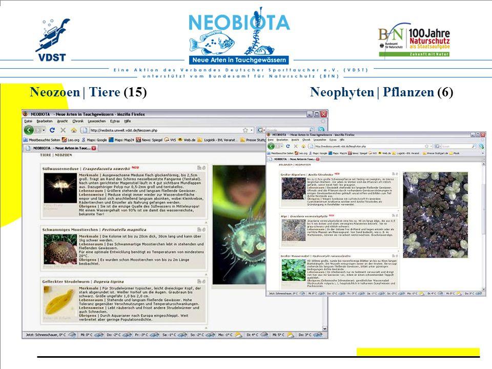 Neozoen | Tiere (15) Neophyten | Pflanzen (6)