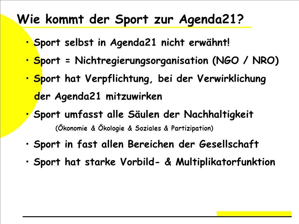 Wie kommt der Sport zur Agenda21.Sport selbst in Agenda21 nicht erwähnt.