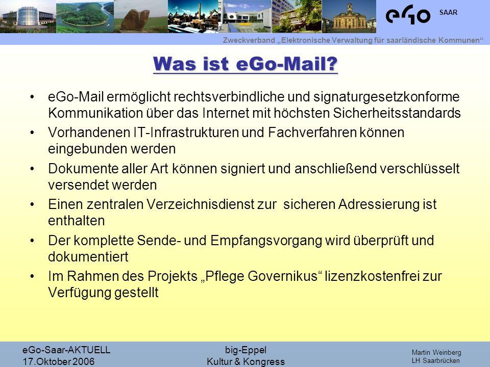 Zweckverband Elektronische Verwaltung für saarländische Kommunen SAAR Martin Weinberg LH Saarbrücken eGo-Saar-AKTUELL 17.Oktober 2006 big-Eppel Kultur & Kongress Wie sieht eGo-Mail aus.
