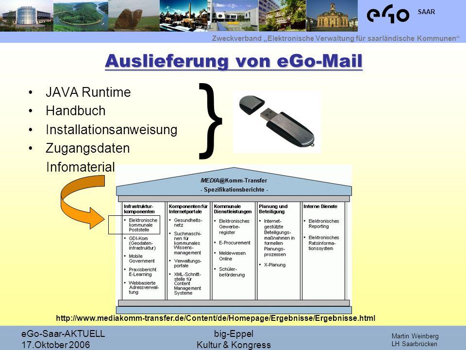 Zweckverband Elektronische Verwaltung für saarländische Kommunen SAAR Martin Weinberg LH Saarbrücken eGo-Saar-AKTUELL 17.Oktober 2006 big-Eppel Kultur & Kongress Wozu soll eGo-Mail genutzt werden.