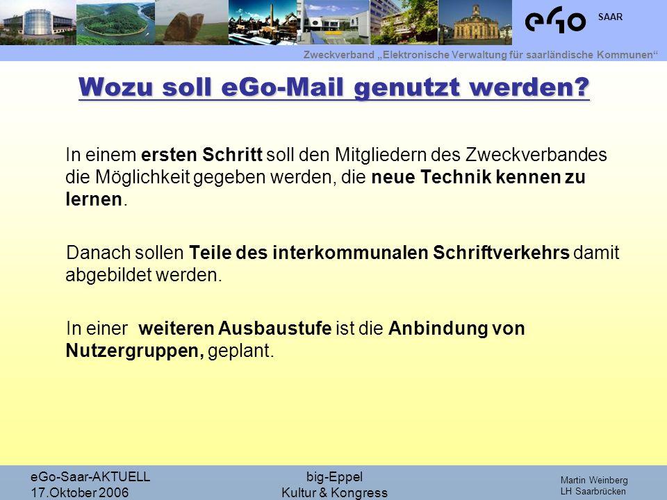 Zweckverband Elektronische Verwaltung für saarländische Kommunen SAAR Martin Weinberg LH Saarbrücken eGo-Saar-AKTUELL 17.Oktober 2006 big-Eppel Kultur & Kongress Wie sieht die Planung aus.