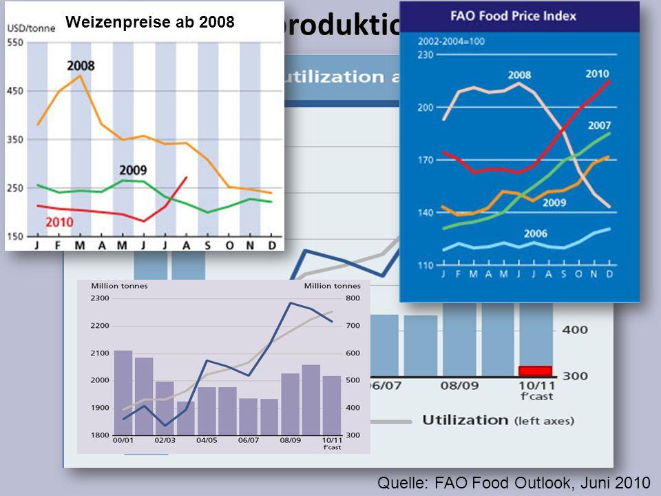 Getreideproduktion steigt Quelle: FAO Food Outlook, Juni 2010 Weizenpreise ab 2008