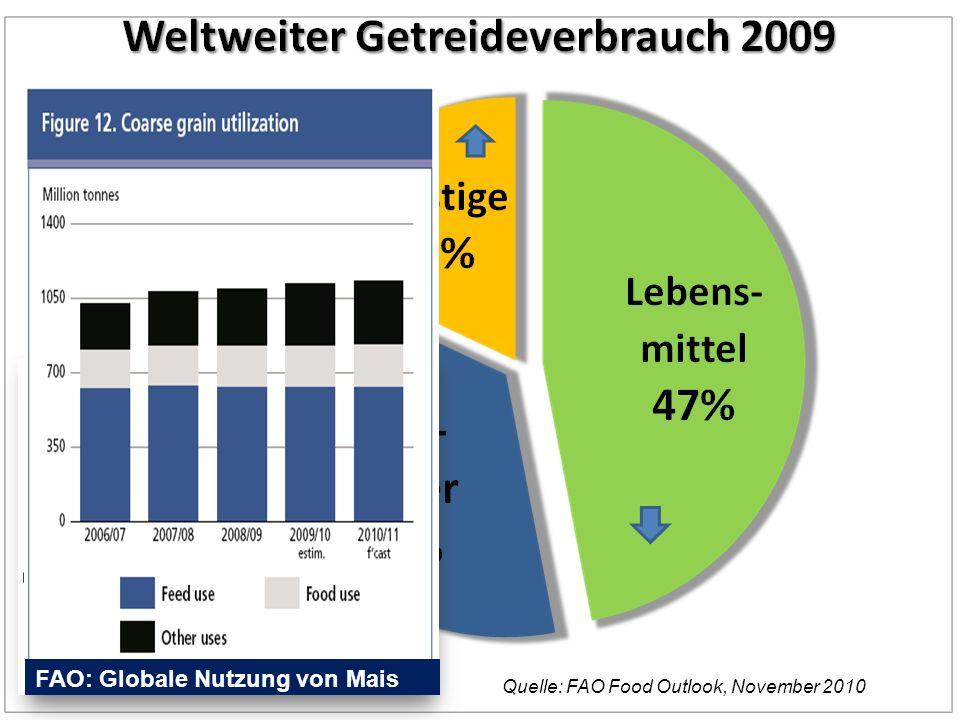 Quelle: FAO Food Outlook, November 2010 EU 2005 FAO: Globale Nutzung von Mais