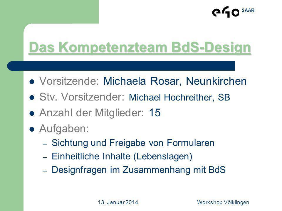 SAAR 13. Januar 2014Workshop Völklingen Das Kompetenzteam BdS-Design Vorsitzende: Michaela Rosar, Neunkirchen Stv. Vorsitzender: Michael Hochreither,