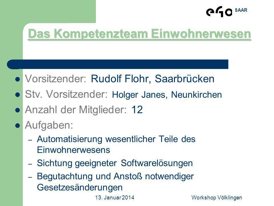 SAAR 13. Januar 2014Workshop Völklingen Das Kompetenzteam Einwohnerwesen Vorsitzender: Rudolf Flohr, Saarbrücken Stv. Vorsitzender: Holger Janes, Neun