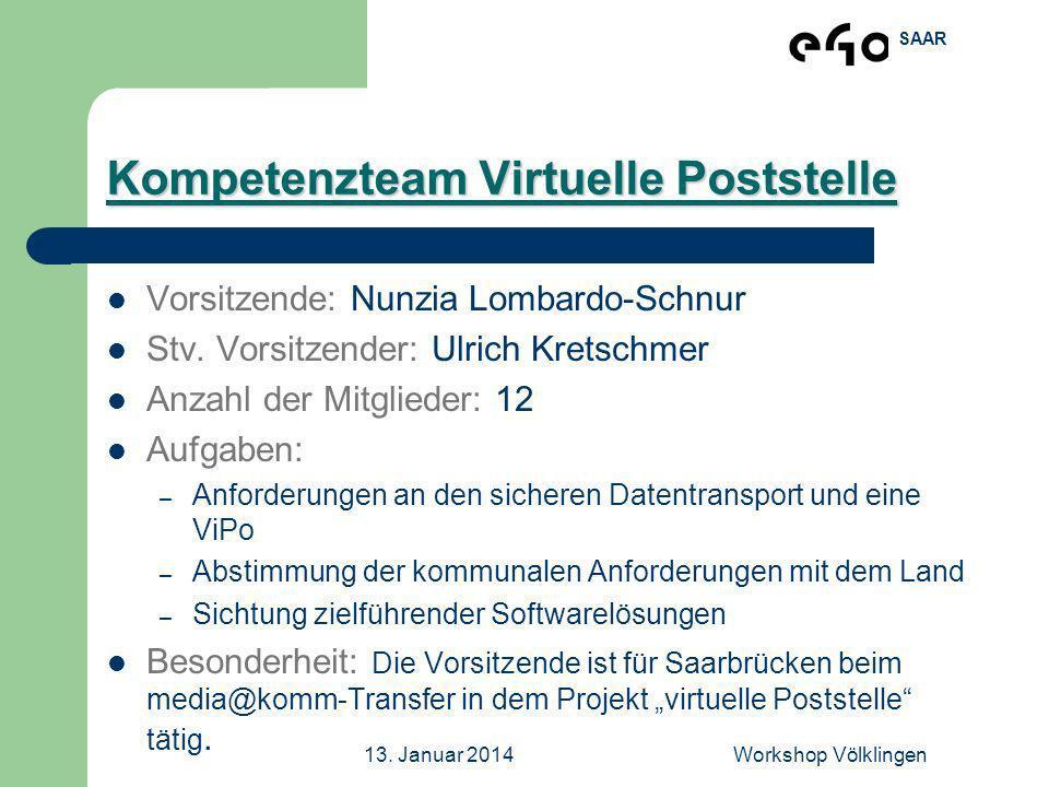 SAAR 13. Januar 2014Workshop Völklingen Kompetenzteam Virtuelle Poststelle Vorsitzende: Nunzia Lombardo-Schnur Stv. Vorsitzender: Ulrich Kretschmer An