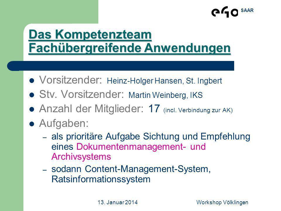SAAR 13. Januar 2014Workshop Völklingen Das Kompetenzteam Fachübergreifende Anwendungen Vorsitzender: Heinz-Holger Hansen, St. Ingbert Stv. Vorsitzend