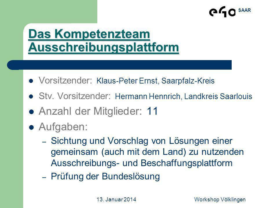 SAAR 13. Januar 2014Workshop Völklingen Das Kompetenzteam Ausschreibungsplattform Vorsitzender: Klaus-Peter Ernst, Saarpfalz-Kreis Stv. Vorsitzender: