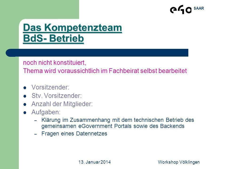 SAAR 13. Januar 2014Workshop Völklingen Das Kompetenzteam BdS- Betrieb noch nicht konstituiert, Thema wird voraussichtlich im Fachbeirat selbst bearbe