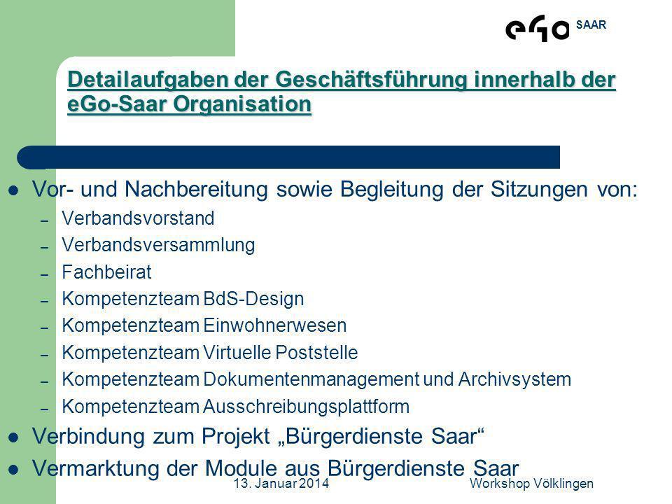SAAR 13. Januar 2014Workshop Völklingen Detailaufgaben der Geschäftsführung innerhalb der eGo-Saar Organisation Vor- und Nachbereitung sowie Begleitun