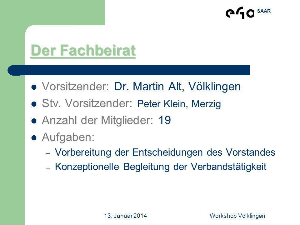 SAAR 13. Januar 2014Workshop Völklingen Der Fachbeirat Vorsitzender: Dr. Martin Alt, Völklingen Stv. Vorsitzender: Peter Klein, Merzig Anzahl der Mitg