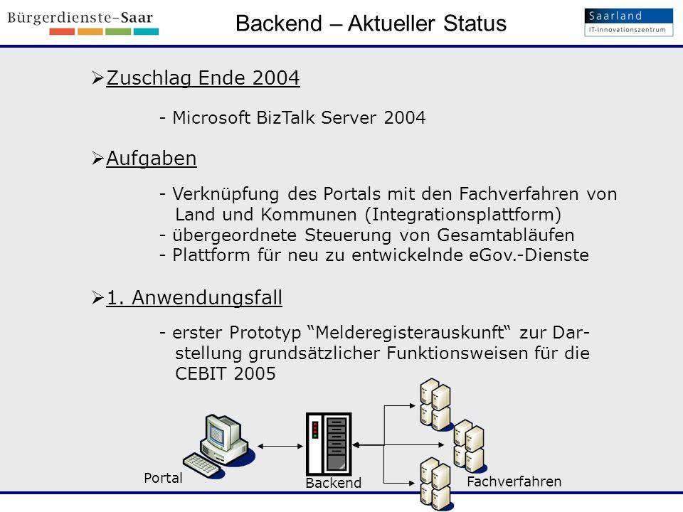 Backend – Aktueller Status Zuschlag Ende 2004 - Microsoft BizTalk Server 2004 Aufgaben - Verknüpfung des Portals mit den Fachverfahren von Land und Ko