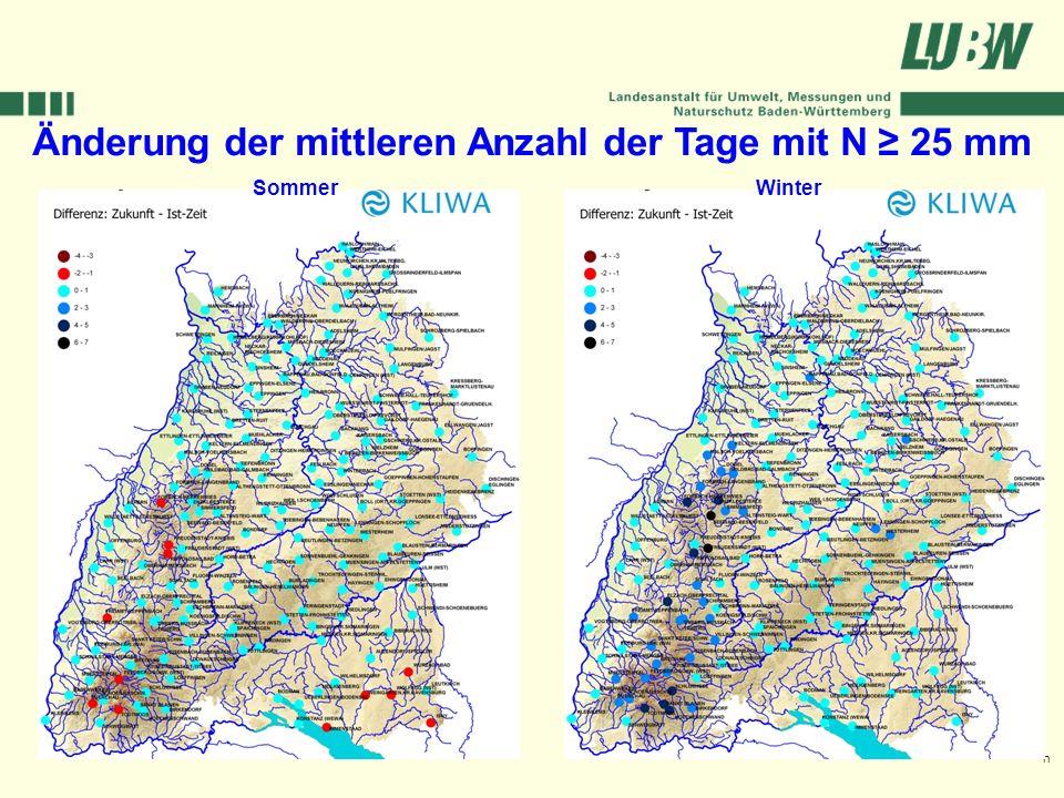 Klimawandel und Hochwasser im Südwesten Stuttgart, 08. März 2006 Änderung der mittleren Anzahl der Tage mit N 25 mm Sommer Winter