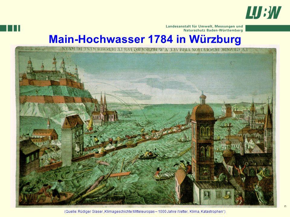 Klimawandel und Hochwasser im Südwesten Stuttgart, 08. März 2006 Main-Hochwasser 1784 in Würzburg (Quelle: Rüdiger Glaser Klimageschichte Mitteleuropa