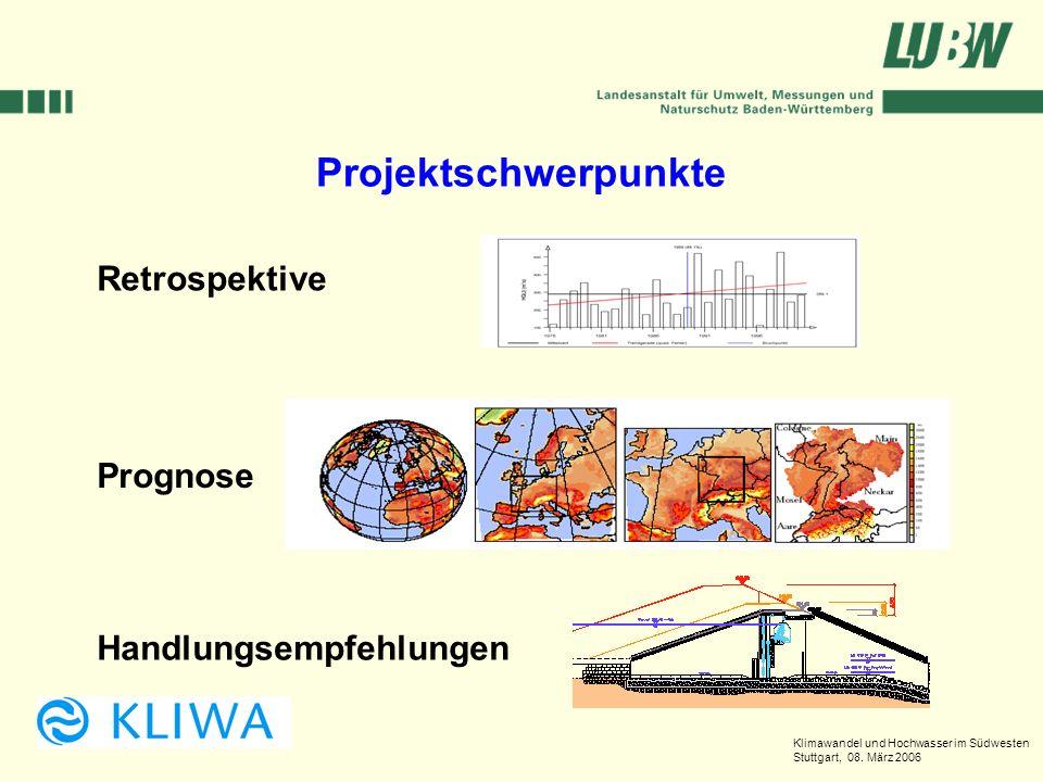 Klimawandel und Hochwasser im Südwesten Stuttgart, 08. März 2006 Projektschwerpunkte Retrospektive Prognose Handlungsempfehlungen
