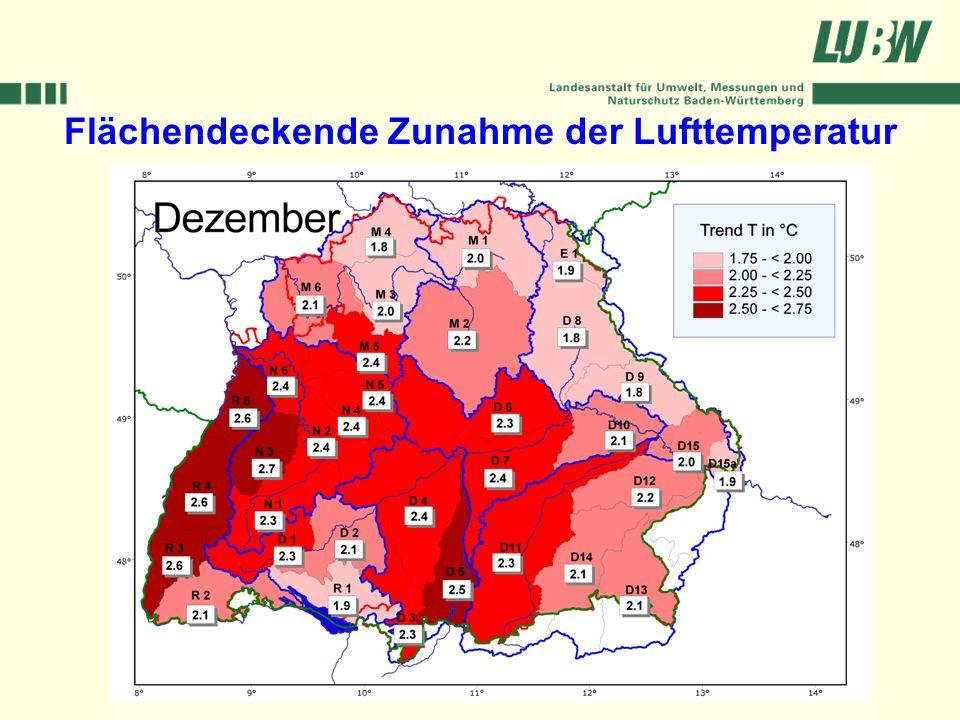 Klimawandel und Hochwasser im Südwesten Stuttgart, 08. März 2006 Flächendeckende Zunahme der Lufttemperatur