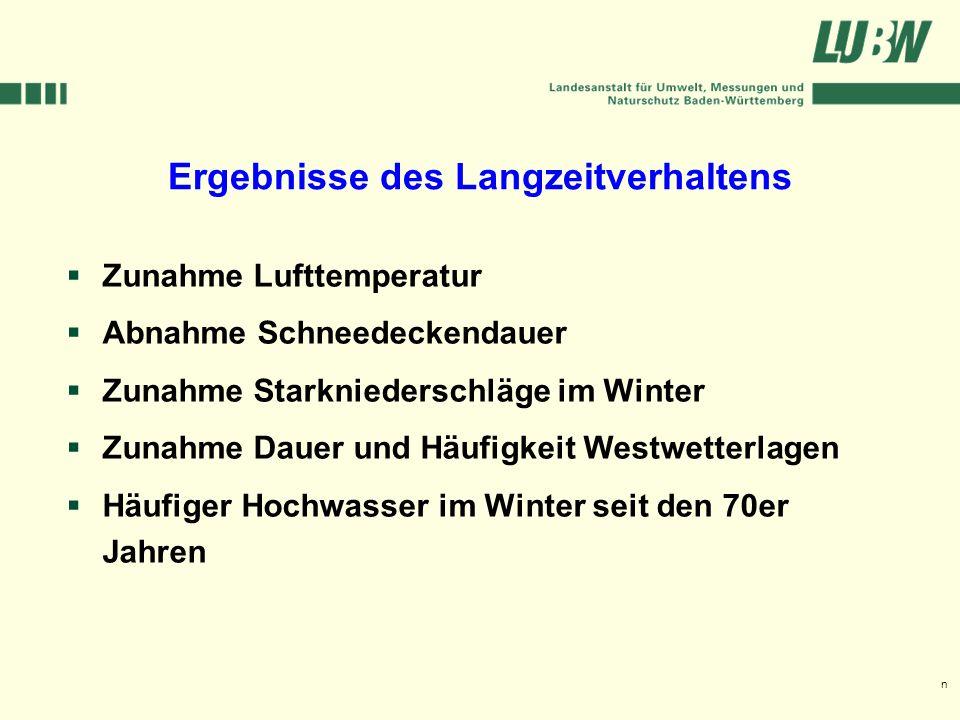 Klimawandel und Hochwasser im Südwesten Stuttgart, 08. März 2006 Zunahme Lufttemperatur Abnahme Schneedeckendauer Zunahme Starkniederschläge im Winter