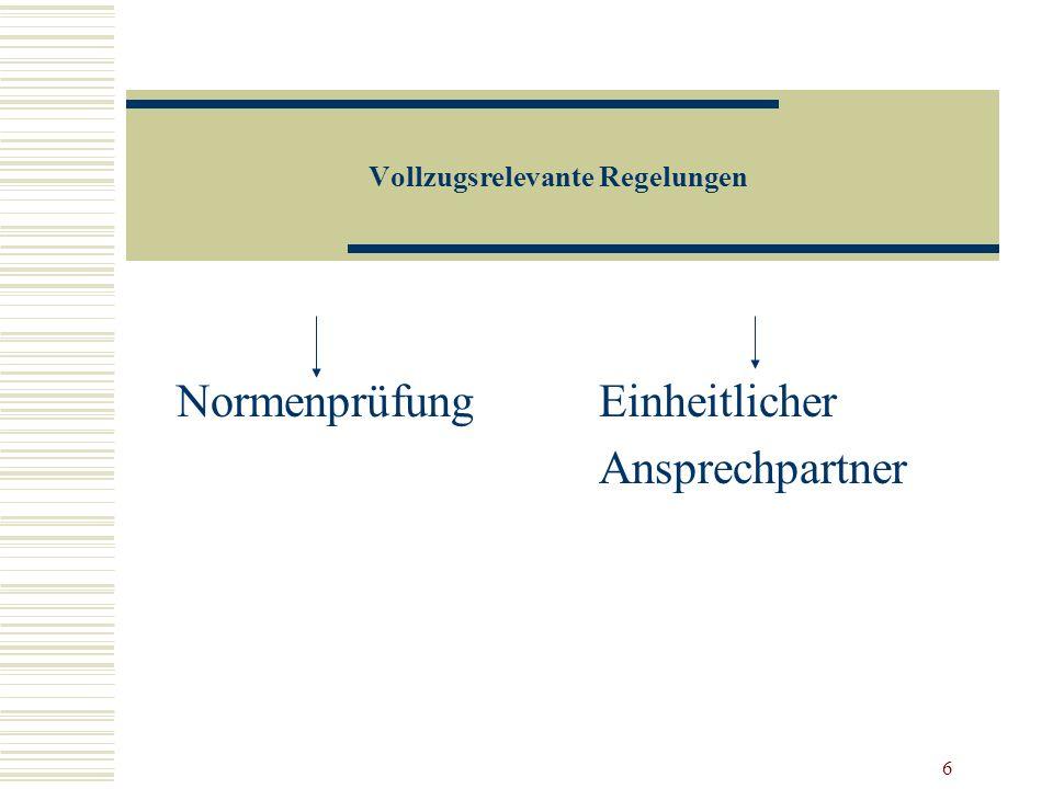 6 Vollzugsrelevante Regelungen Normenprüfung Einheitlicher Ansprechpartner