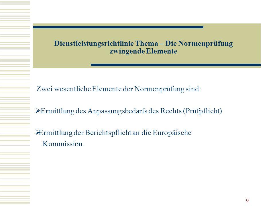 9 Dienstleistungsrichtlinie Thema – Die Normenprüfung zwingende Elemente Zwei wesentliche Elemente der Normenprüfung sind: Ermittlung des Anpassungsbe