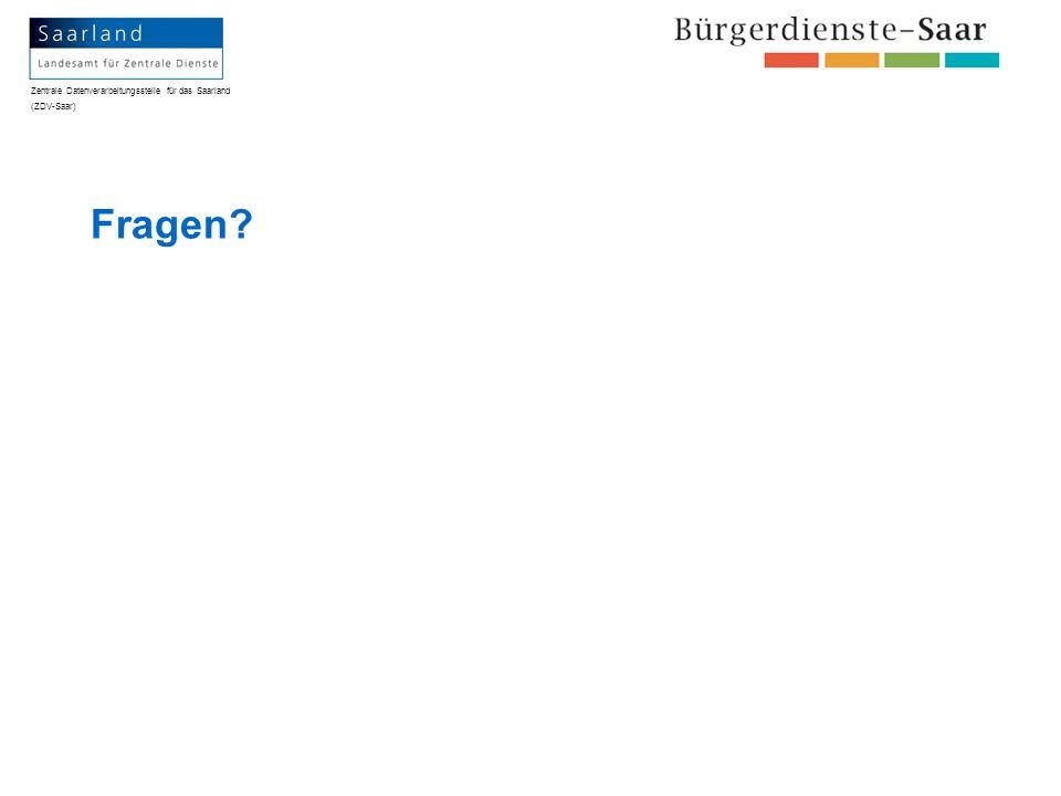 Zentrale Datenverarbeitungsstelle für das Saarland (ZDV-Saar) Fragen?