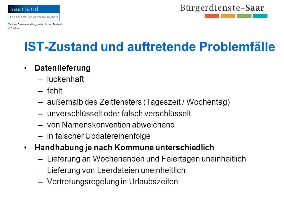 Zentrale Datenverarbeitungsstelle für das Saarland (ZDV-Saar) IST-Zustand und auftretende Problemfälle Datenlieferung –lückenhaft –fehlt –außerhalb de