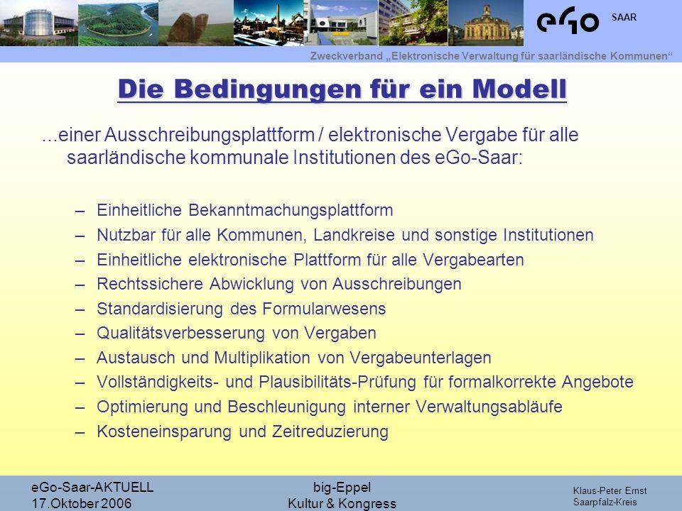 Zweckverband Elektronische Verwaltung für saarländische Kommunen SAAR Klaus-Peter Ernst Saarpfalz-Kreis eGo-Saar-AKTUELL 17.Oktober 2006 big-Eppel Kultur & Kongress Bsp.