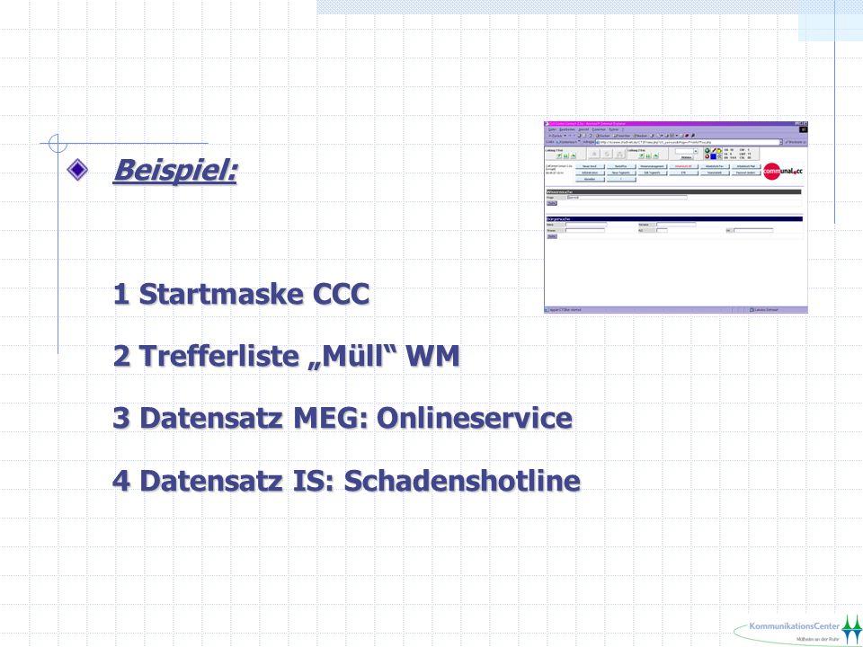 Beispiel: 1 Startmaske CCC 2 Trefferliste Müll WM 3 Datensatz MEG: Onlineservice 4 Datensatz IS: Schadenshotline