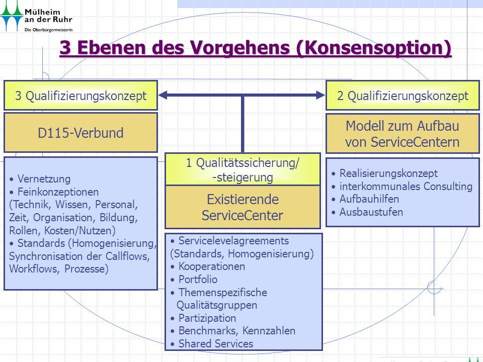 3 Ebenen des Vorgehens (Konsensoption) 3 Qualifizierungskonzept 1 Qualitätssicherung/ -steigerung 2 Qualifizierungskonzept D115-Verbund Existierende S