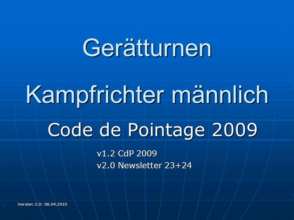 Version 2.0: 08.04.2010 Gerätturnen Kampfrichter männlich Code de Pointage 2009 v1.2 CdP 2009 v2.0 Newsletter 23+24