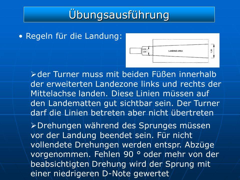 Übungsausführung Regeln für die Landung: der Turner muss mit beiden Füßen innerhalb der erweiterten Landezone links und rechts der Mittelachse landen.