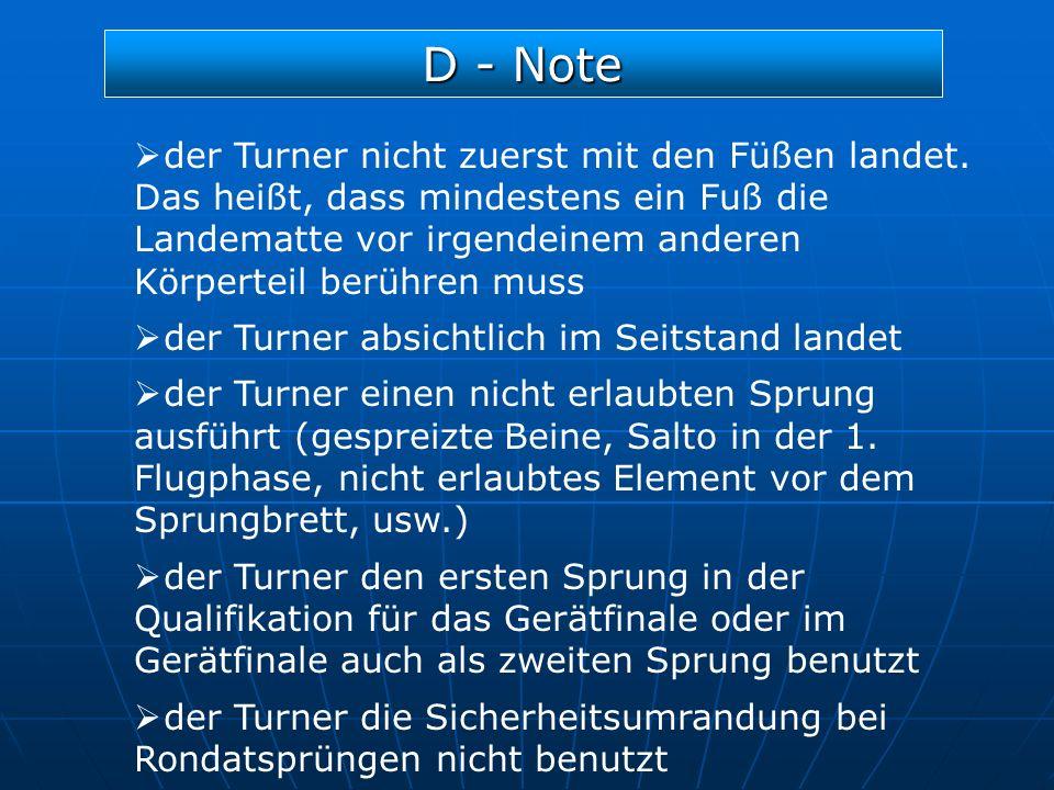 D - Note der Turner nicht zuerst mit den Füßen landet. Das heißt, dass mindestens ein Fuß die Landematte vor irgendeinem anderen Körperteil berühren m