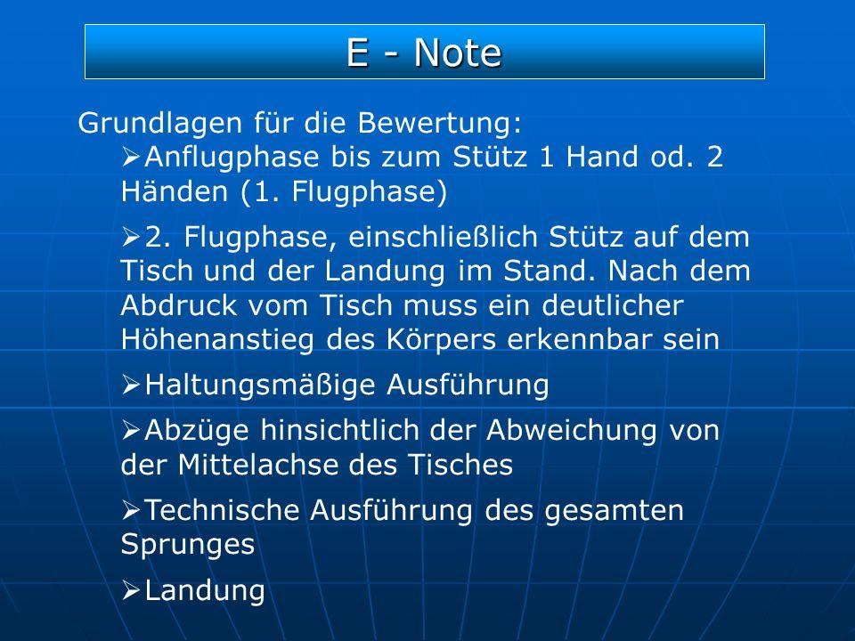 E - Note Grundlagen für die Bewertung: Anflugphase bis zum Stütz 1 Hand od. 2 Händen (1. Flugphase) 2. Flugphase, einschließlich Stütz auf dem Tisch u